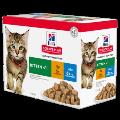 Hill's Science Plan Kitten Wet Food Chicken Flavour & Ocean Fish Flavour 12x85g Pouches