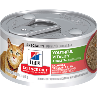 Hill's Science Plan Adult 7+ Youthful Vitality Wet Cat Food Salmon and Vegetable Flavour 82g