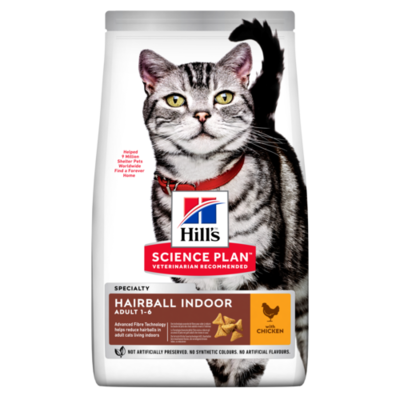Hill's Science Plan Adult Hairball & Indoor Dry Cat Food Chicken Flavour 3kg