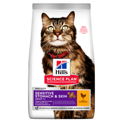 Hill's Science Plan Adult Sensitive Stomach & Skin Dry Cat Food Chicken Flavour 1.5kg