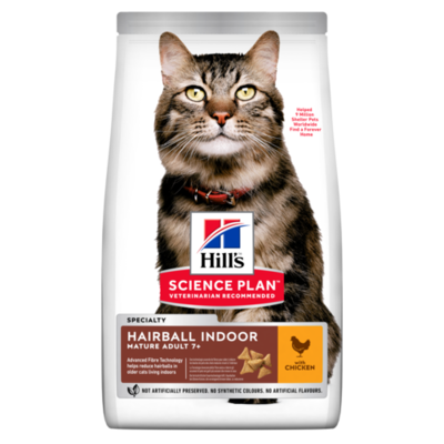 Hill's Science Plan Mature Adult Hairball & Indoor Dry Cat Food Chicken Flavour 2.5kg