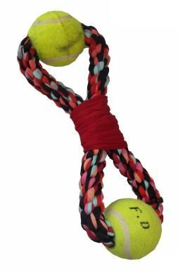 Cotton Figure 8 with 2 Tennis Balls Rope Toy