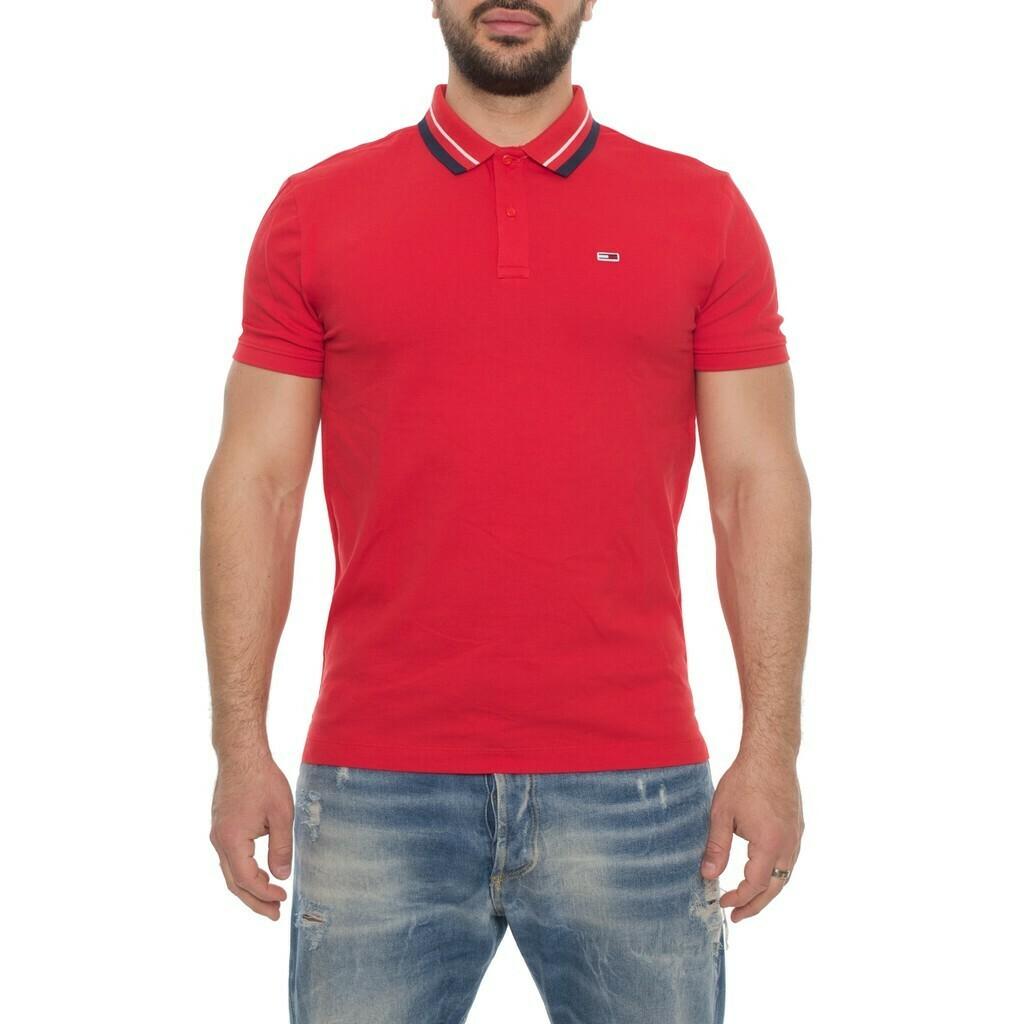 Tommy Jeans piros, férfi galléros póló