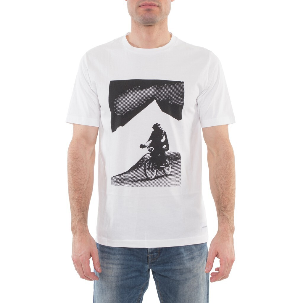 "Calvin Klein Jeans férfi póló fehér ""cross"""