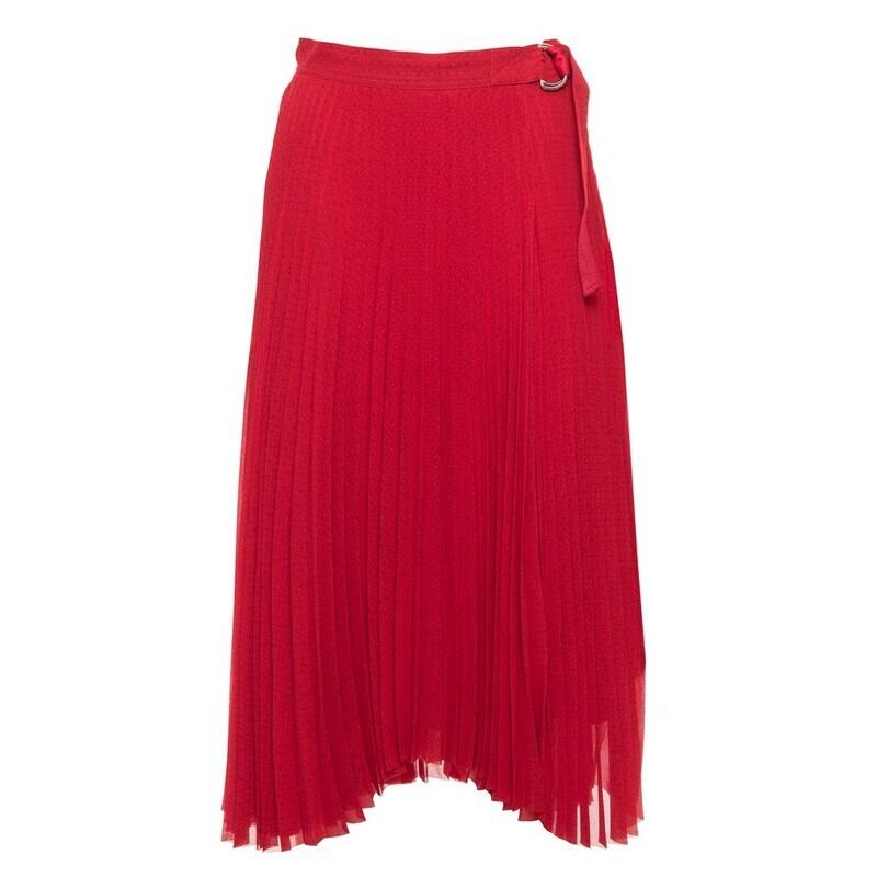 Calvin Klein anyagában nyomott pliszírozott szoknya piros