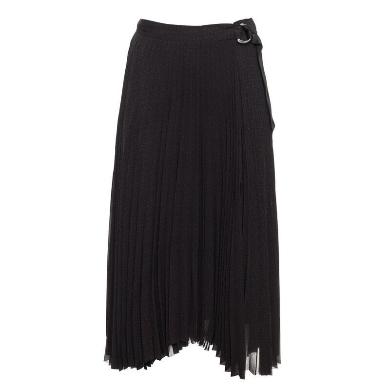 Calvin Klein anyagában nyomott pliszírozott fekete szoknya