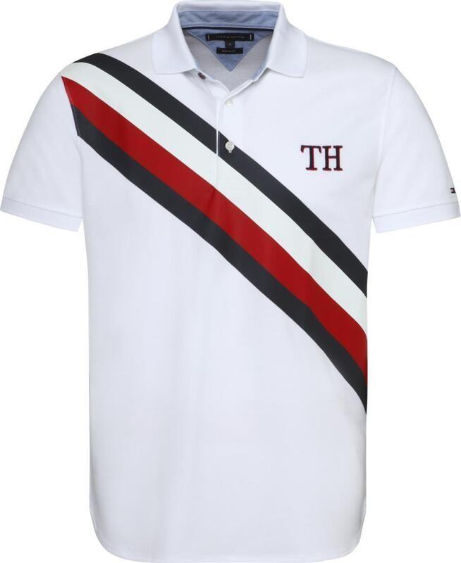 """Tommy Hilfiger férfi galléros póló fehér """"Stripes"""""""