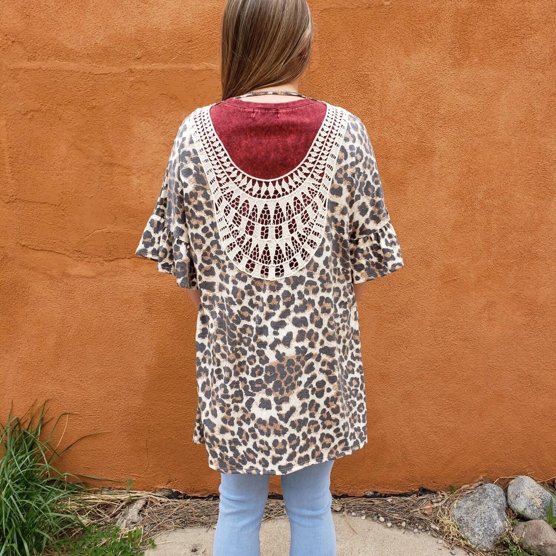 Leopard Cardi Back Trim