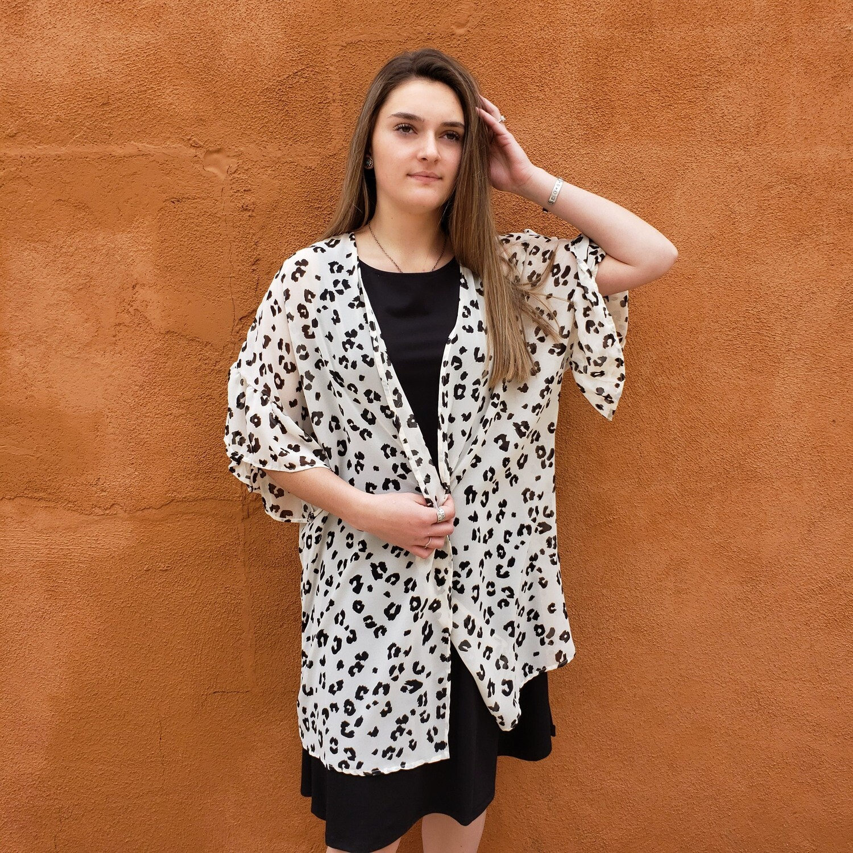 Chiffon Leopard Kimono
