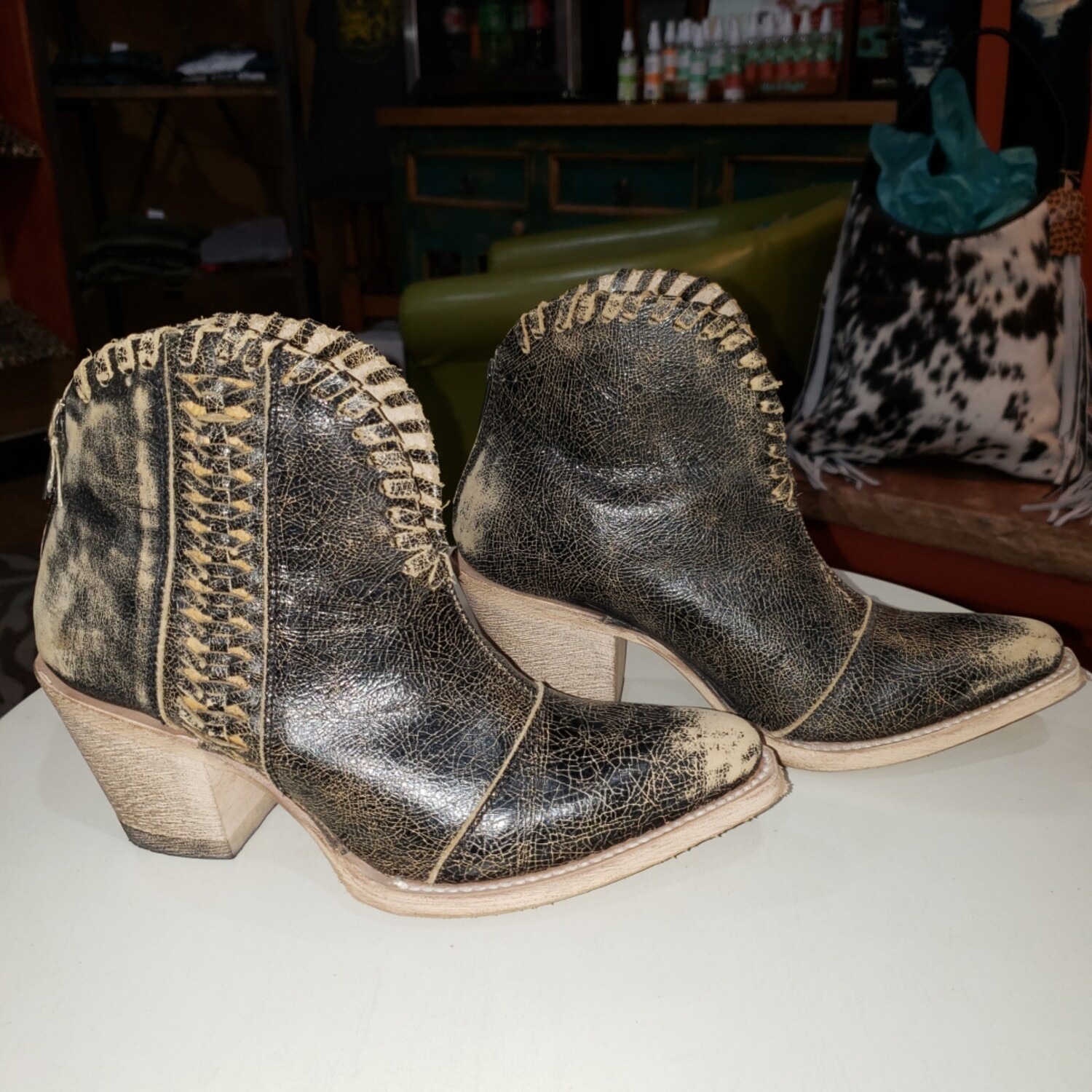 Distressed Woven Ankle