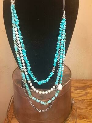 Turquoise Pearl Sterling Silver Necklace