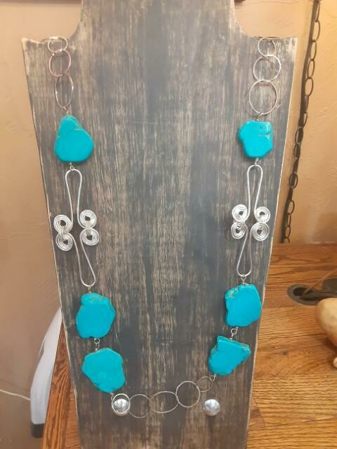 Turquoise slab silver plate 1