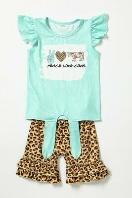 Girls Peace Love Cow Set
