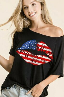 Flag Lips Loose Fit Top