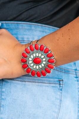 Red & White Flower Concho Bracelet