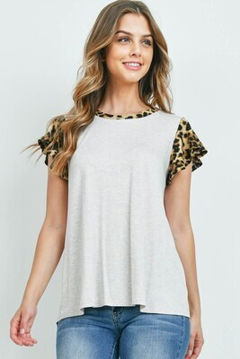 Leopard Sleeve Top