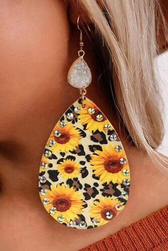 Sunflower Teardrop Earring