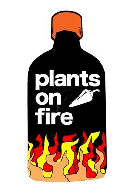plants on fire sticker