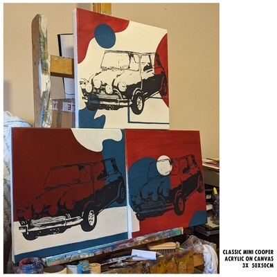 Classic Mini Coopers Triptych (Painting)
