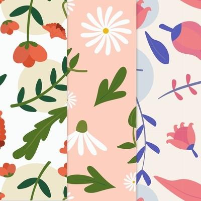 [設計圖樣] 春天 花草 色塊 Spring pattern collection