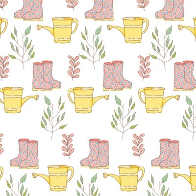 [設計圖樣] 春天 園藝 花草 可愛 Gardener SprinklerBoots