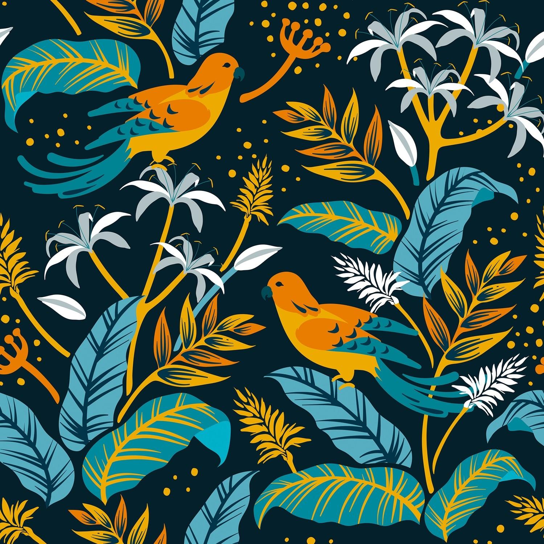 [設計圖樣] 春天 夏天 自然 拼貼 花草 Birds in Nature