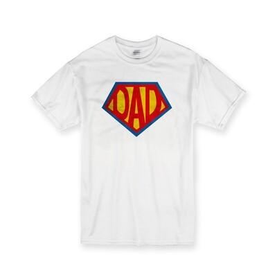 [設計圖樣] 父親節 超人爸爸 彩色版 白色 純棉 中性 T恤 Super Dad White Cotton T-shirt