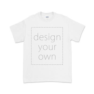 客製 局部 印花 白色 純棉 中性 T恤 White Cotton T-shirt