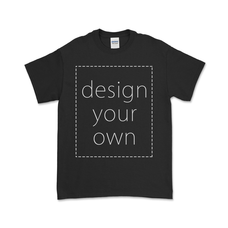 客製 局部 印花 黑色 純棉 中性 T恤 Black Cotton T-shirt