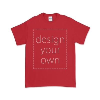客製 局部 印花 紅色 純棉 中性 T恤 Red Cotton T-shirt