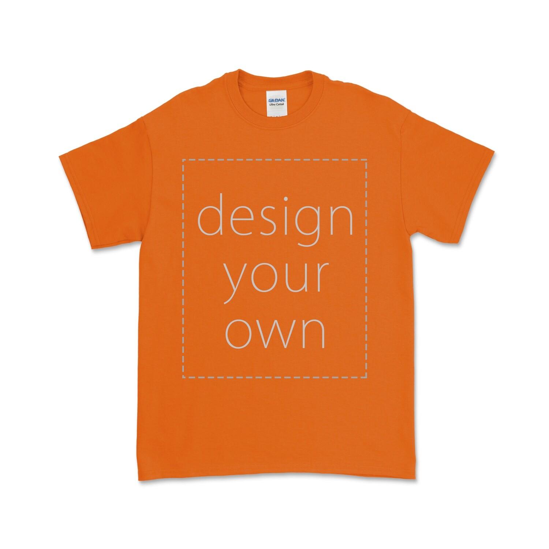 客製 局部 印花 橘色 純棉 中性 T恤 Orange Cotton T-shirt