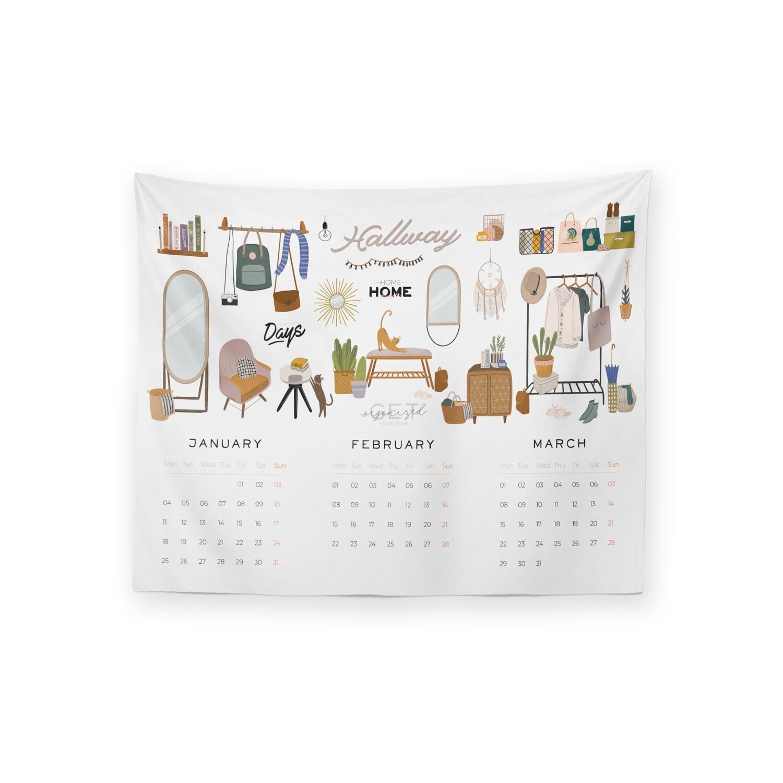 [設計圖樣] 居家 插畫 2021 年曆 掛幔 Home Deco Illustration Calendar Tapestry