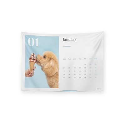 [設計圖樣] 客製 圖片 2021 月曆 掛幔 Customized Image Illustration Calendar Tapestry