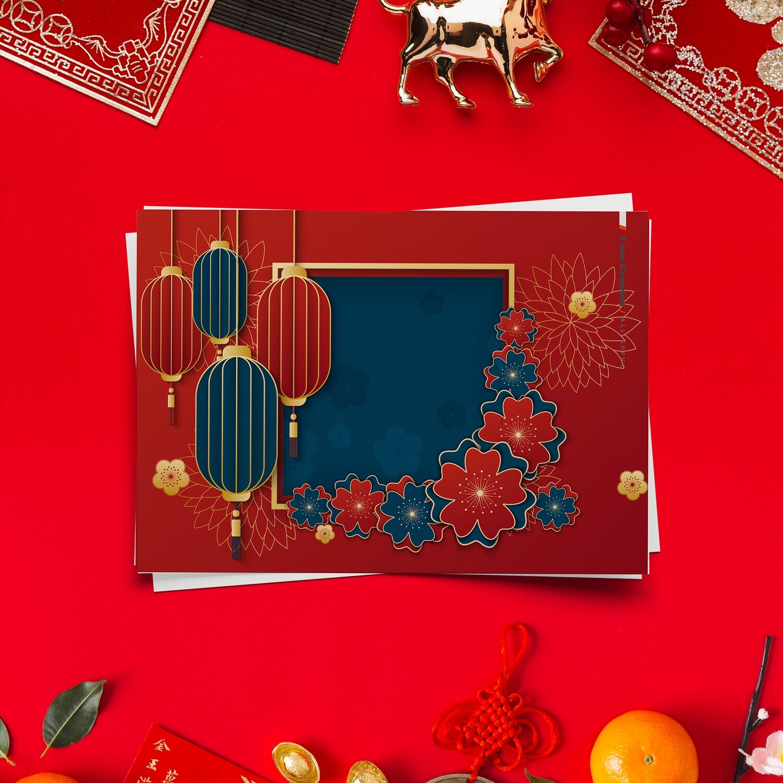 [設計圖樣] 新年 過年 花朵 燈籠 畫框 全品項 適用