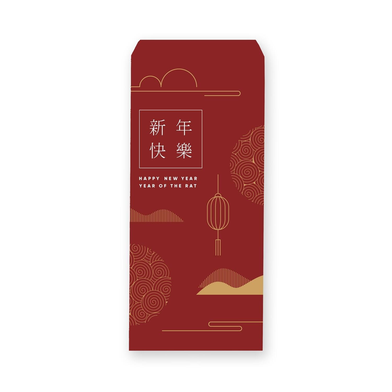 [設計圖樣] 紅色 線條 風格 新年 信封 Red Line Style  Lunar New Year Envelope