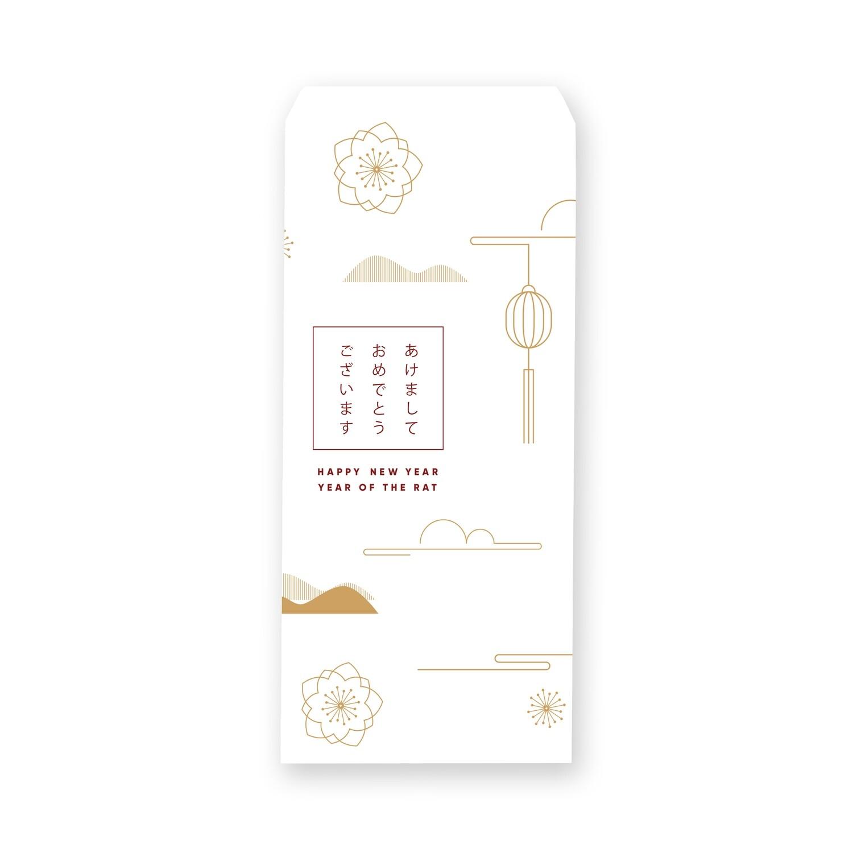 [設計圖樣] 白色 線條 風格 新年 信封 Red Line Style  Lunar New Year Envelope