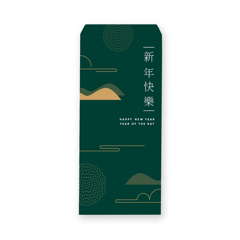 [設計圖樣] 綠色 線條 風格 新年 信封 Red Line Style  Lunar New Year Envelope