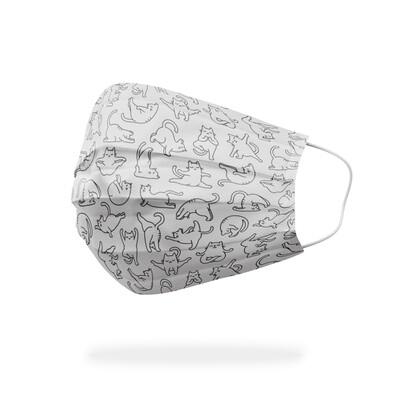 現貨 滿版 印花 瑜珈 貓 醫療 口罩 (30入) Yoga cat mask