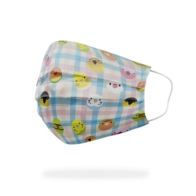 現貨 滿版 印花 格子 小Q鳥 醫療 口罩 (10入) Grid little Q-bird mask