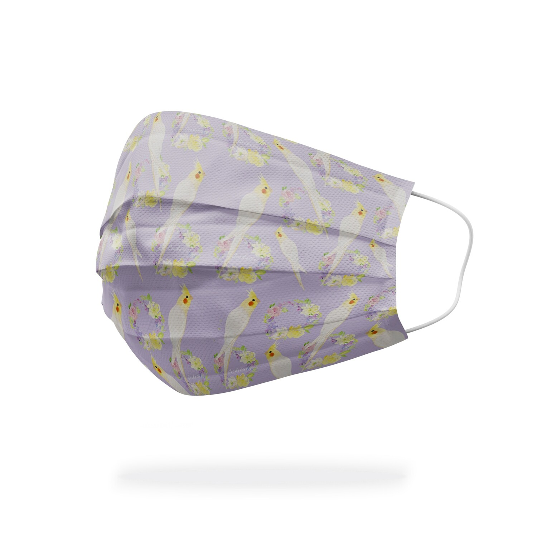 現貨 滿版 印花 紫想 遇見 玄鳳 醫療 口罩 (10入) Purple  meet cockatiel mask