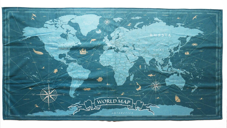 現貨 滿版 印花 世界地圖 極超細纖維 吸水浴巾 world map towel