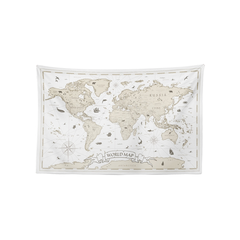 現貨 復古 世界 地圖 (白樺配色) 布幔 Vintage world map tapestry
