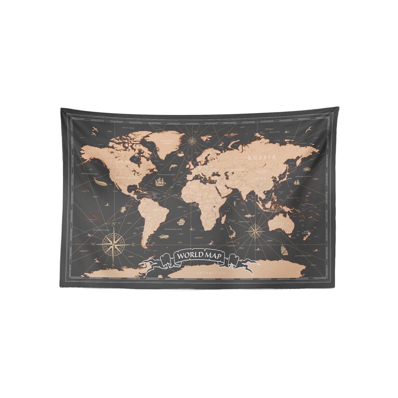 現貨 復古 世界 地圖 (焦茶配色) 布幔 Vintage world map tapestry