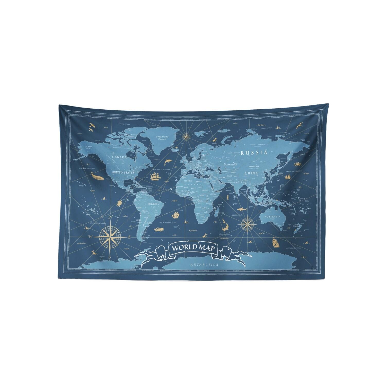 現貨 復古 世界 地圖 (青琉璃配色) 布幔 Vintage world map tapestry