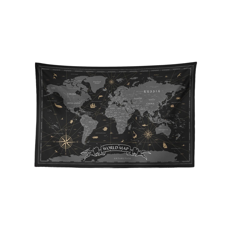 現貨 復古 世界 地圖 (銅墨配色) 布幔 Vintage world map tapestry