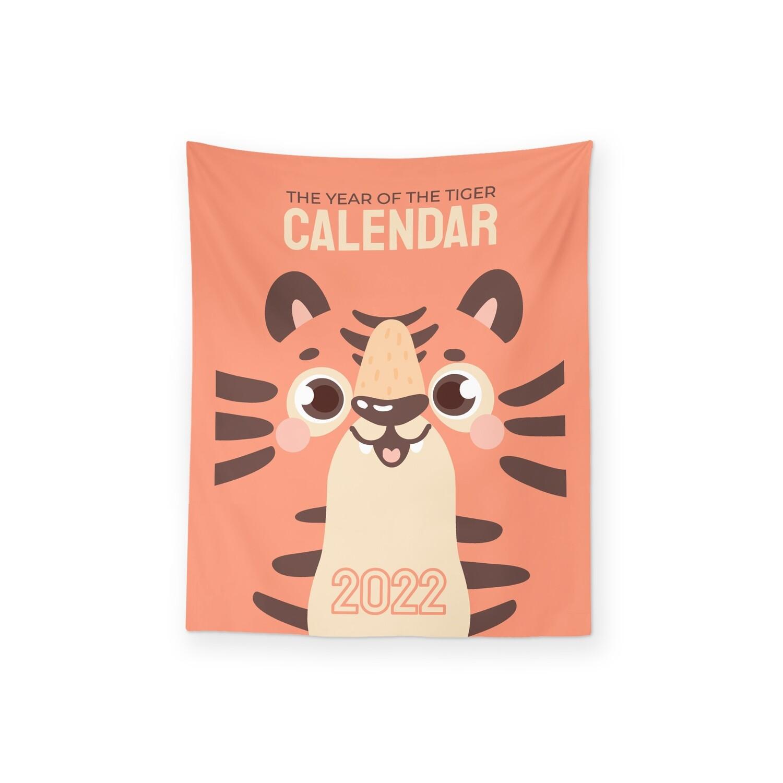 [設計圖樣] 可愛 虎年 插圖 2022 月曆 掛幔 Cute Year of Tiger Illustration Calendar Tapestry