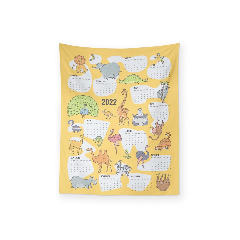 [設計圖樣] 動物 插圖 2022 月曆 掛幔 Animals Illustration Calendar Tapestry