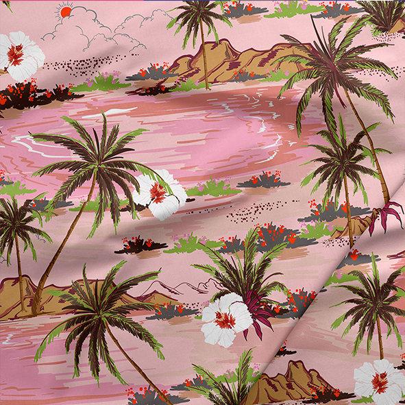 [設計圖樣] 粉紅 棕梠島 布花 Palm island