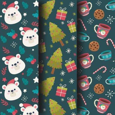 [設計圖樣] 聖誕 深綠 熊 聖誕樹 杯子 布花 Christmas flat pattern