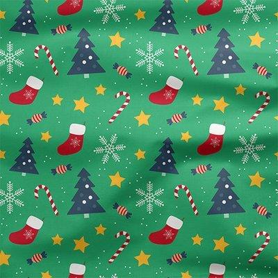 [設計圖樣] 聖誕 綠色 兒童 元素 布花 Christmas green pattern